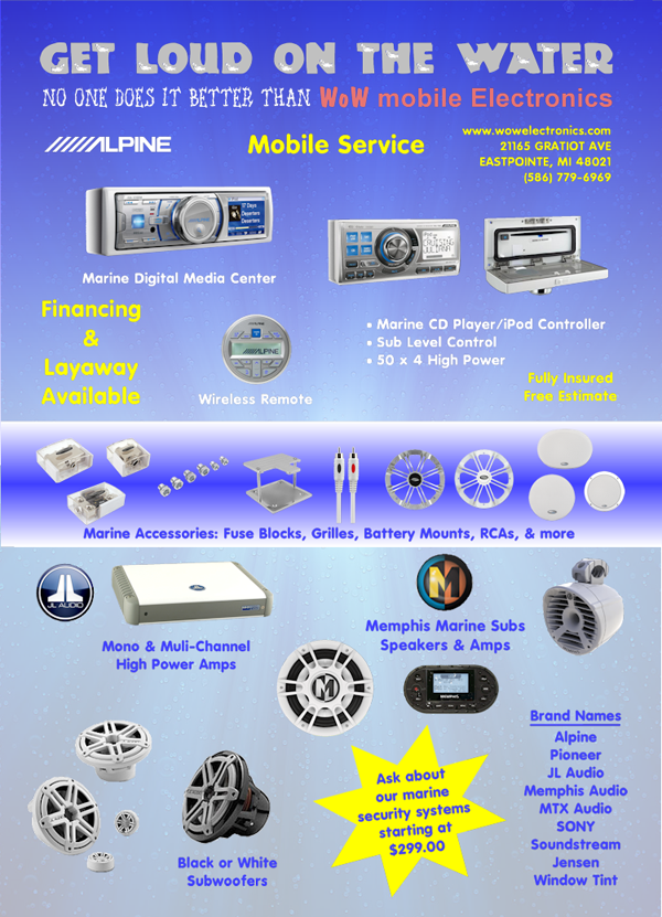 Marine Audio and Video Eastpointe MI - Kenwood Car Audio, Alpine Car Audio - Wow Electronics - Marine_Flyer
